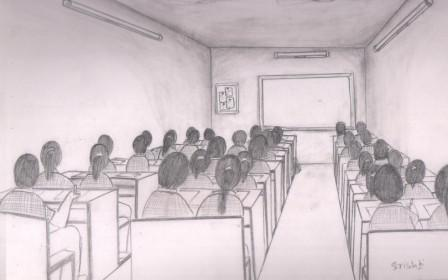 You are an examiner in a class room and test is going on draw the view.